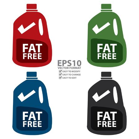 Vector : Fat Free Milk in Gallon Icon or Label Isolated on White Background Ilustrace