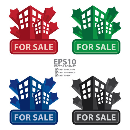 leasing: Vector : Building, Apartment or Office For Sale Icon or Label Isolated on White Background Illustration