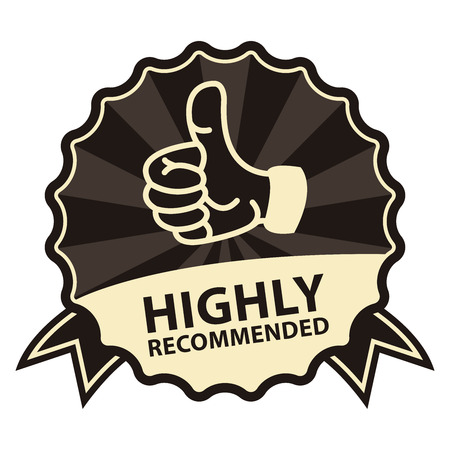 highly: Black Vintage Style Highly Recommended Badge, Icon, Label or Sticker Isolated on White Background Stock Photo