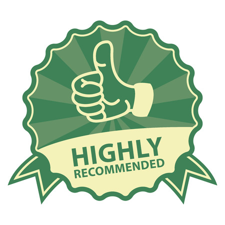 highly: Green Vintage Style Highly Recommended Badge, Icon, Label or Sticker Isolated on White Background