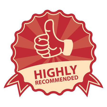 빨간 빈티지 스타일 권장 권장 배지, 아이콘, 레이블 또는 스티커에 격리 된 흰색 배경