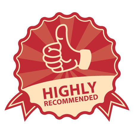 highly: Red Vintage Style Highly Recommended Badge, Icon, Label or Sticker Isolated on White Background