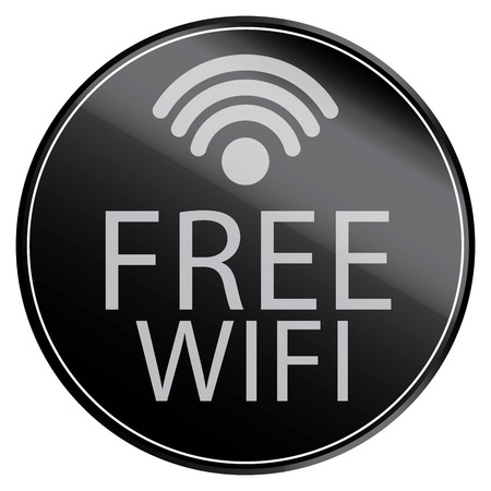 channel surfing: Black Circle Metallic Style Free Wifi Icon, Button, Sticker or Label Isolated on White Background
