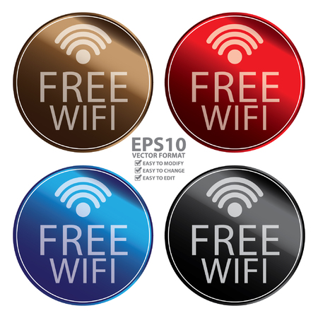 Vector : Circle Metallic Style Free Wifi Icon, Button, Sticker or Label Isolated on White Background