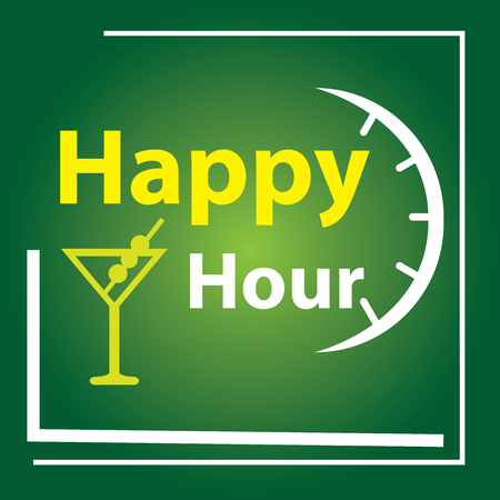 hour: Green Square Happy Hour Label, Poster or Sign Isolated on White Background