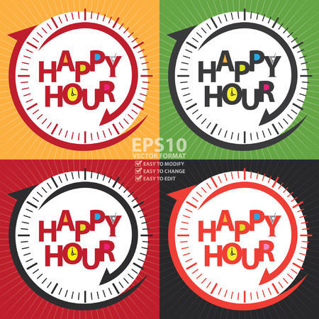 Vector : Happy Hour Label, Poster or Sign