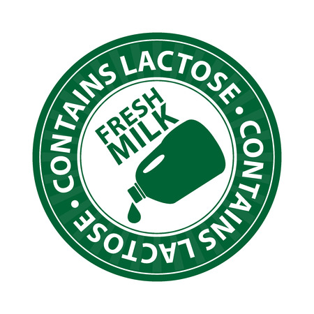 lactose: Green Fresh Milk, Contain Lactose Icon, Sticker or Label Isolated on White Background Stock Photo