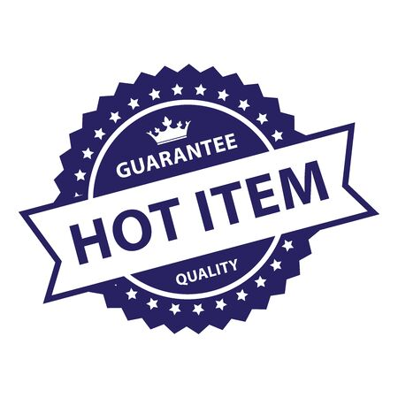 guaranty: Blue Vintage Style Guarantee Hot Item Quality Icon, Badge, Label or Sticker Isolated on White Background