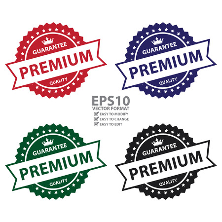 qc: Vector : Guarantee Premium Quality Badge, Icon, Sticker, Banner, Tag, Sign or Label Isolated on White Background