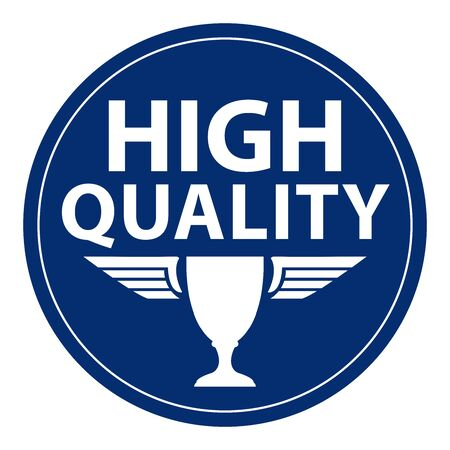 qc: Blue Circle Retro Style High Quality Icon, Label or Sticker Isolated on White Background