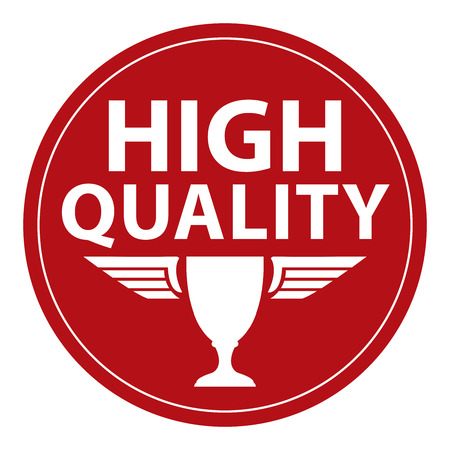 qc: Red Circle Retro Style High Quality Icon, Label or Sticker Isolated on White Background