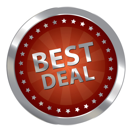 silver circle: Red Silver Circle Best Deal Badge, Icon, Sticker, Banner, Tag, Sign or Label Isolated on White Background