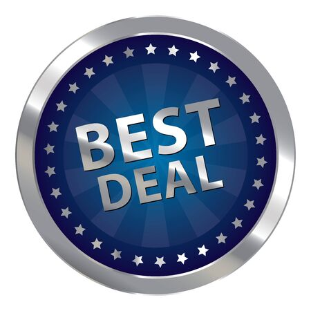 silver circle: Blue Silver Circle Best Deal Badge, Icon, Sticker, Banner, Tag, Sign or Label Isolated on White Background Stock Photo