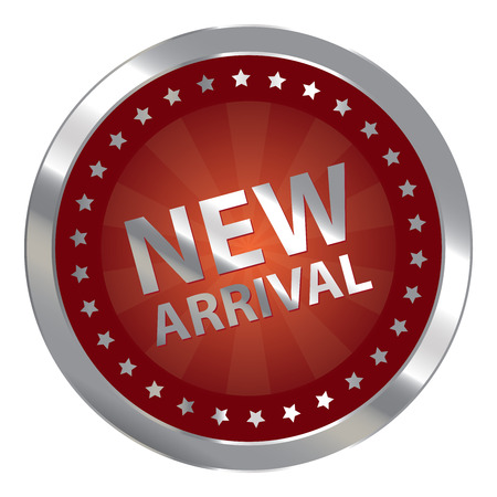 silver circle: Red Silver Circle New Arrival Badge, Icon, Sticker, Banner, Tag, Sign or Label Isolated on White Background