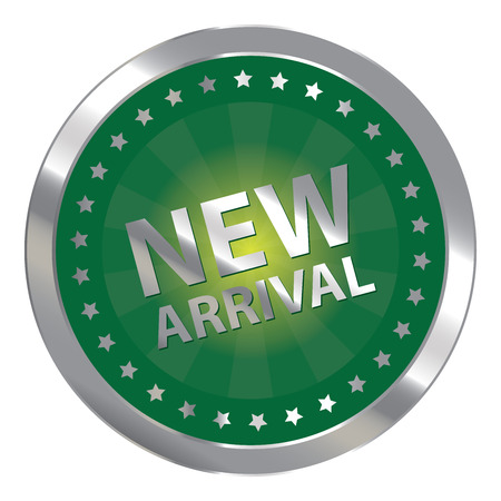 silver circle: Green Silver Circle New Arrival Badge, Icon, Sticker, Banner, Tag, Sign or Label Isolated on White Background
