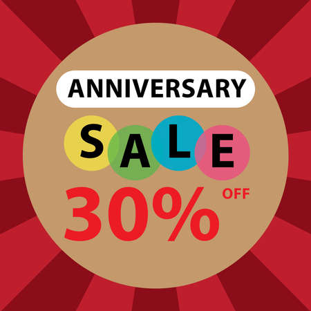 anniversary sale: Anniversary Sale 30 Percent Off Sticker, Poster or Label Isolated on White Background Stock Photo