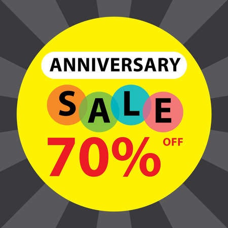 anniversary sale: Anniversary Sale 70 Percent Off Sticker, Poster or Label Isolated on White Background