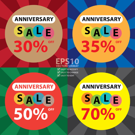 anniversary sale: Vector : Anniversary Sale 30 - 70 Percent Off Sticker, Poster or Label Isolated on White Background