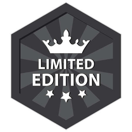 rarity: Black Hexagon Shape Vintage Style Limited Edition Icon, Sticker, Badge or Label Isolated on White Background Stock Photo