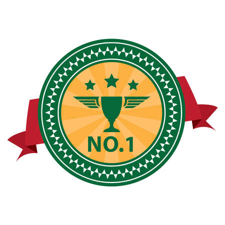 no1: Green Vintage Style No.1 With Red Ribbon Icon, Sticker, Badge or Label Isolated on White Background