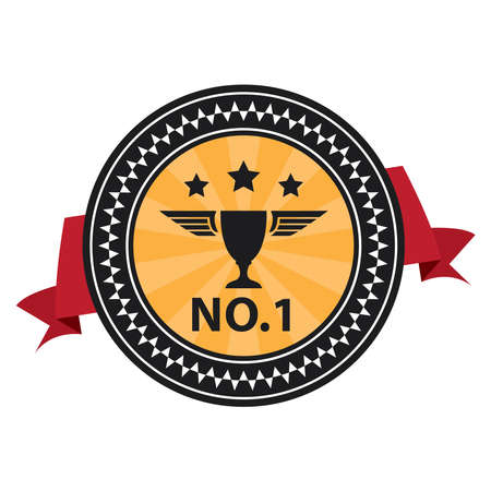 no1: Black Vintage Style No.1 With Red Ribbon Icon, Sticker, Badge or Label Isolated on White Background Stock Photo