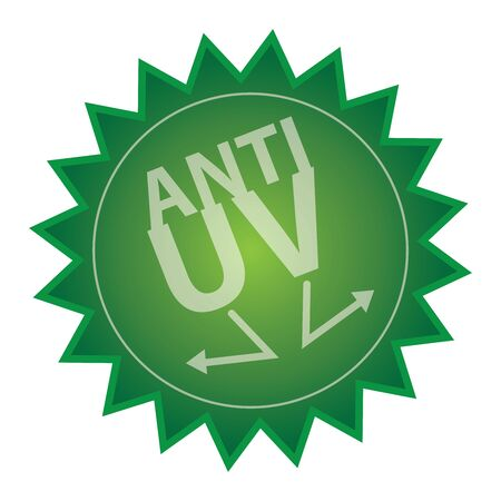 anti season: Green Glossy Style Anti UV Icon, Sticker, Badge or Label Isolated on White Background Stock Photo