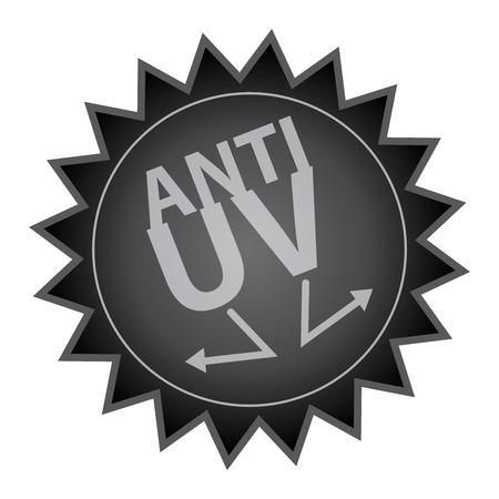 uv: Black Glossy Style Anti UV Icon, Sticker, Badge or Label Isolated on White Background
