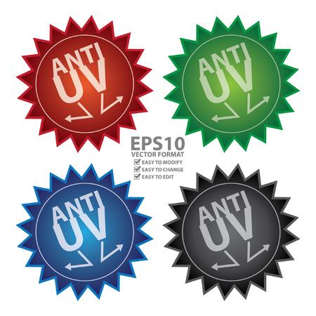 uv: Vectorial: Glossy estilo anti UV Icon, engomada, insignia o etiqueta aislado en el fondo blanco