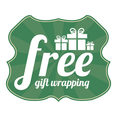 enclose: Green Vintage Style Free Gift Wrapping With Gift Box Icon, Sticker, Badge or Label Isolated on White Background Stock Photo