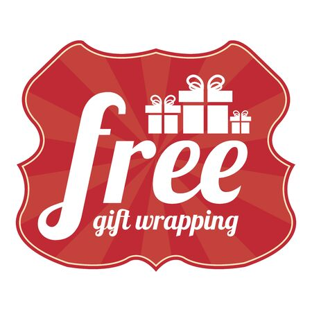 gift wrapping: Red Vintage Style Free Gift Wrapping With Gift Box Icon, Sticker, Badge or Label Isolated on White Background Stock Photo