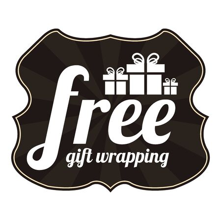 enclose: Black Vintage Style Free Gift Wrapping With Gift Box Icon, Sticker, Badge or Label Isolated on White Background