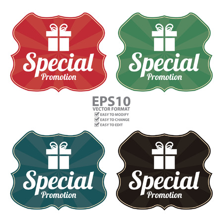 grand sale sticker: Vector : Vintage Style Special Promotion Wrapping With Gift Box Icon, Sticker, Badge or Label Isolated on White Background