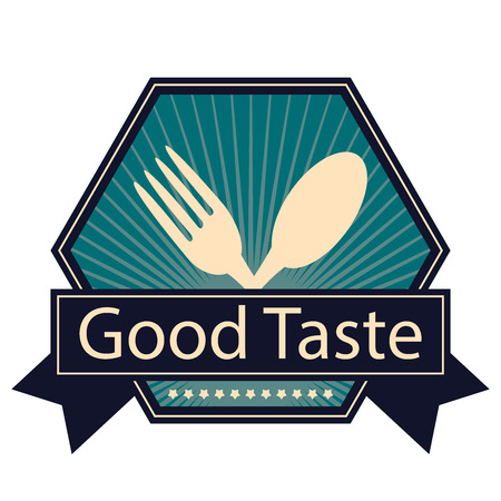 Blue Hexagon Vintage Style Good Taste Icon, Sticker, Badge or Label Isolated on White Background Stock Photo
