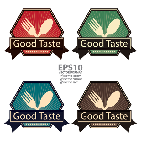 taste: Vector : Hexagon Vintage Style Good Taste Icon, Sticker, Badge or Label Isolated on White Background Illustration