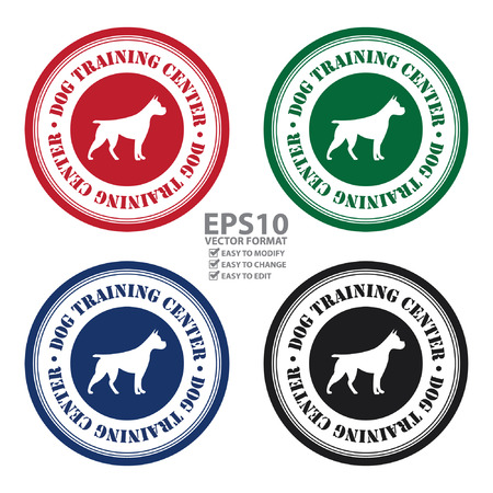 untamed: Vector : Circle Dog Training Center With Dog Sign Icon, Sticker or Label Isolated on White Background