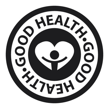good health: Black Circle Good Health Icon, Sticker or Label Isolated on White Background Stock Photo