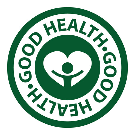 good health: Green Circle Good Health Icon, Sticker or Label Isolated on White Background