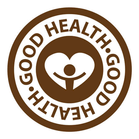 well being: Brown Circle Good Health Icon, Sticker or Label Isolated on White Background