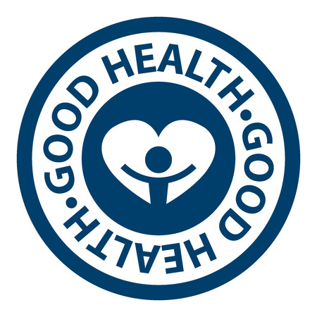 good health: Blue Circle Good Health Icon, Sticker or Label Isolated on White Background