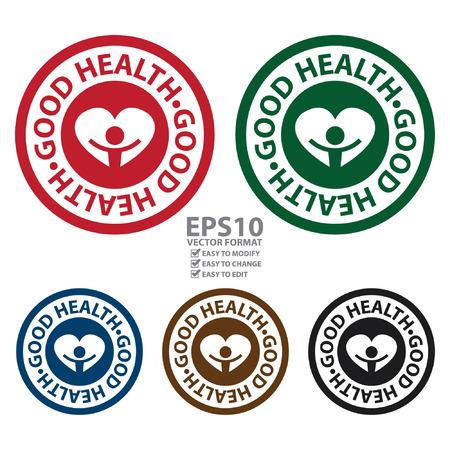 Vector: Círculo Buena Icono de la Salud, pegatina o etiqueta de aislados en fondo blanco