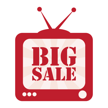 best ad: Red TV With Big Sale on Screen Icon, Sticker or Label Isolated on White Background
