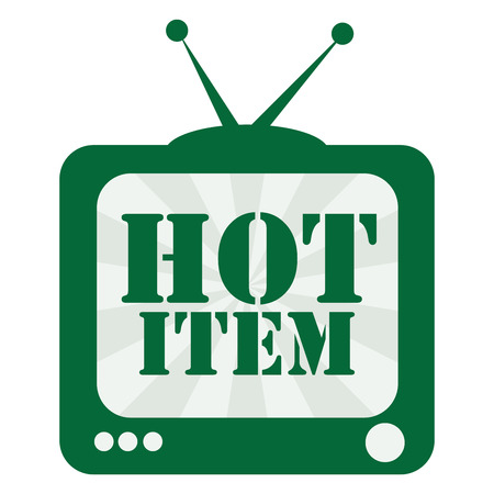 guaranty: Green TV With Hot Item on Screen Icon, Sticker or Label Isolated on White Background Stock Photo