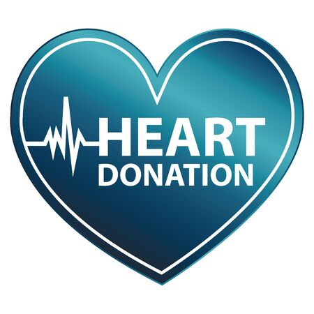 recipient: Blue Heart Shape Metallic Style Heart Donation Icon, Sticker or Label Isolated on White Background Stock Photo