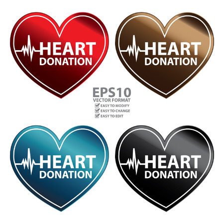 recipient: Vector : Heart Shape Metallic Style Heart Donation Icon, Sticker or Label Isolated on White Background