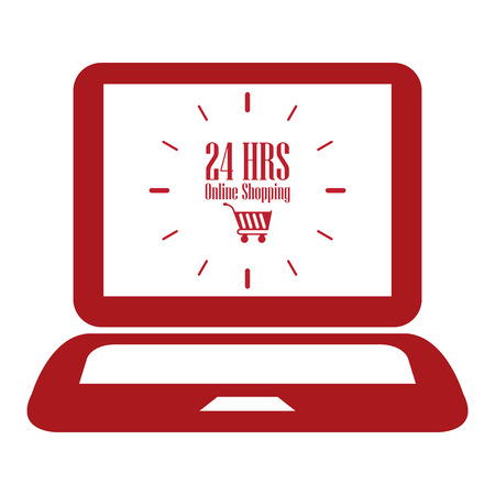 e retailers: Red Computer Notebook or Laptop With 24 HRS Online Shopping on Screen Icon or Label Isolated on White Background