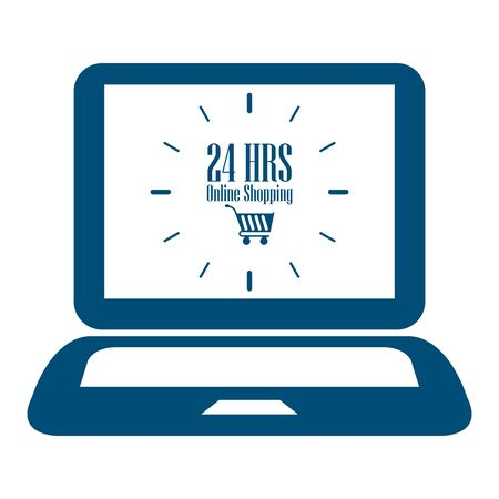 e retailers: Blue Computer Notebook or Laptop With 24 HRS Online Shopping on Screen Icon or Label Isolated on White Background