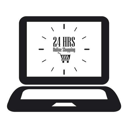 hrs: Black Computer Notebook or Laptop With 24 HRS Online Shopping on Screen Icon or Label Isolated on White Background
