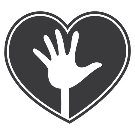 beloved: Black Heart Shape With Raised Hand Sign Icon, Sticker or Label Isolated on White Background