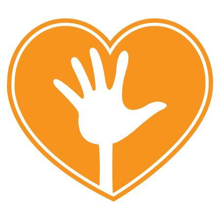 올린 손 기호 아이콘, 스티커 또는 레이블에 격리 된 흰색 배경을 가진 오렌지 심장 모양 스톡 콘텐츠