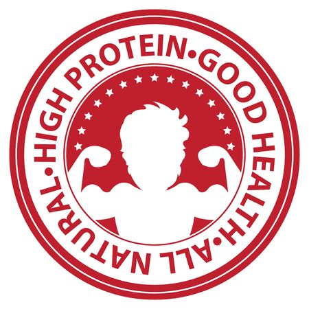 good health: Red Circle High Protein, Good Health, All Natural Icon, Sticker or Label Isolated on White Background
